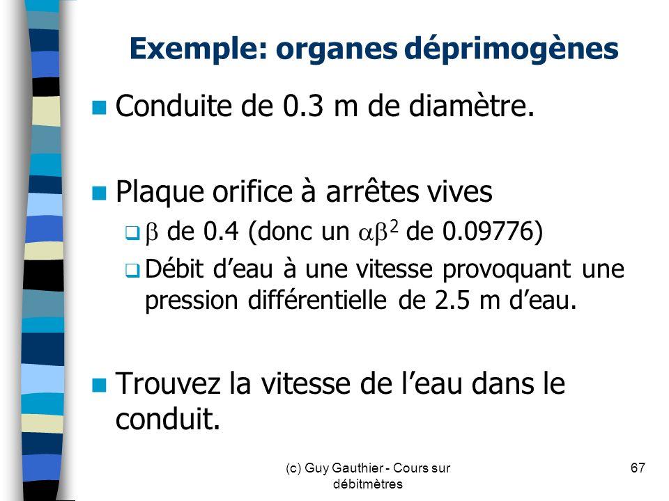 Exemple: organes déprimogènes Conduite de 0.3 m de diamètre. Plaque orifice à arrêtes vives de 0.4 (donc un 2 de 0.09776) Débit deau à une vitesse pro
