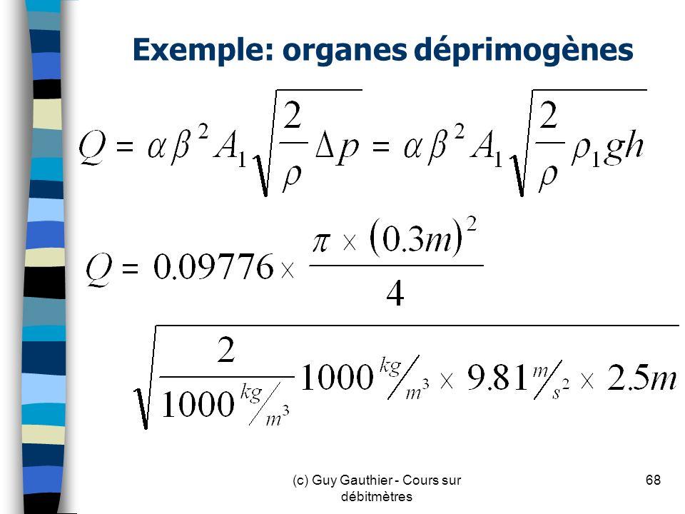 Exemple: organes déprimogènes 68(c) Guy Gauthier - Cours sur débitmètres