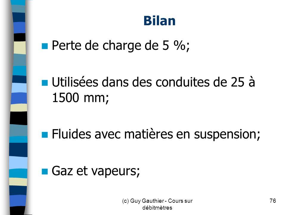 Bilan Perte de charge de 5 %; Utilisées dans des conduites de 25 à 1500 mm; Fluides avec matières en suspension; Gaz et vapeurs; 76(c) Guy Gauthier -