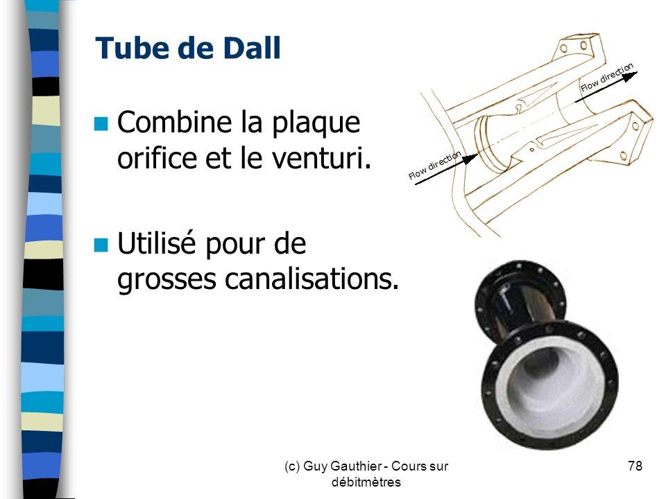 Tube de Dall Combine la plaque orifice et le venturi. Utilisé pour de grosses canalisations. (c) Guy Gauthier - Cours sur débitmètres 78