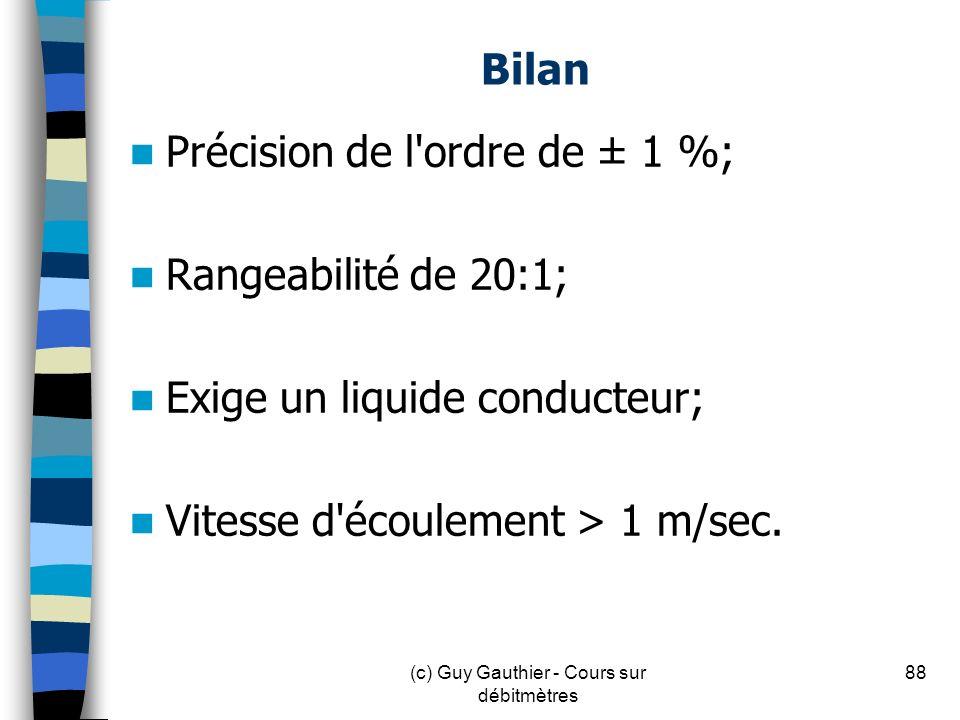 Bilan Précision de l'ordre de ± 1 %; Rangeabilité de 20:1; Exige un liquide conducteur; Vitesse d'écoulement > 1 m/sec. 88(c) Guy Gauthier - Cours sur