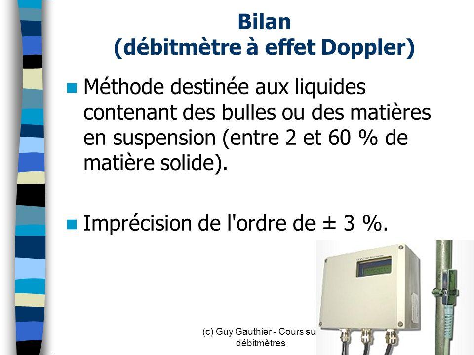 Bilan (débitmètre à effet Doppler) Méthode destinée aux liquides contenant des bulles ou des matières en suspension (entre 2 et 60 % de matière solide