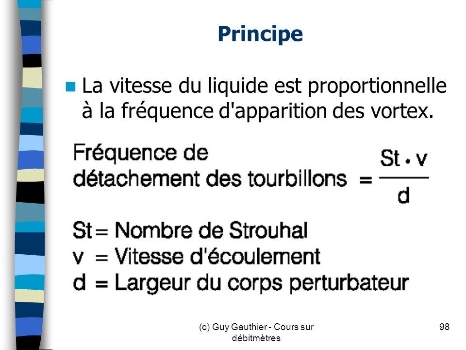 Principe La vitesse du liquide est proportionnelle à la fréquence d'apparition des vortex. 98(c) Guy Gauthier - Cours sur débitmètres