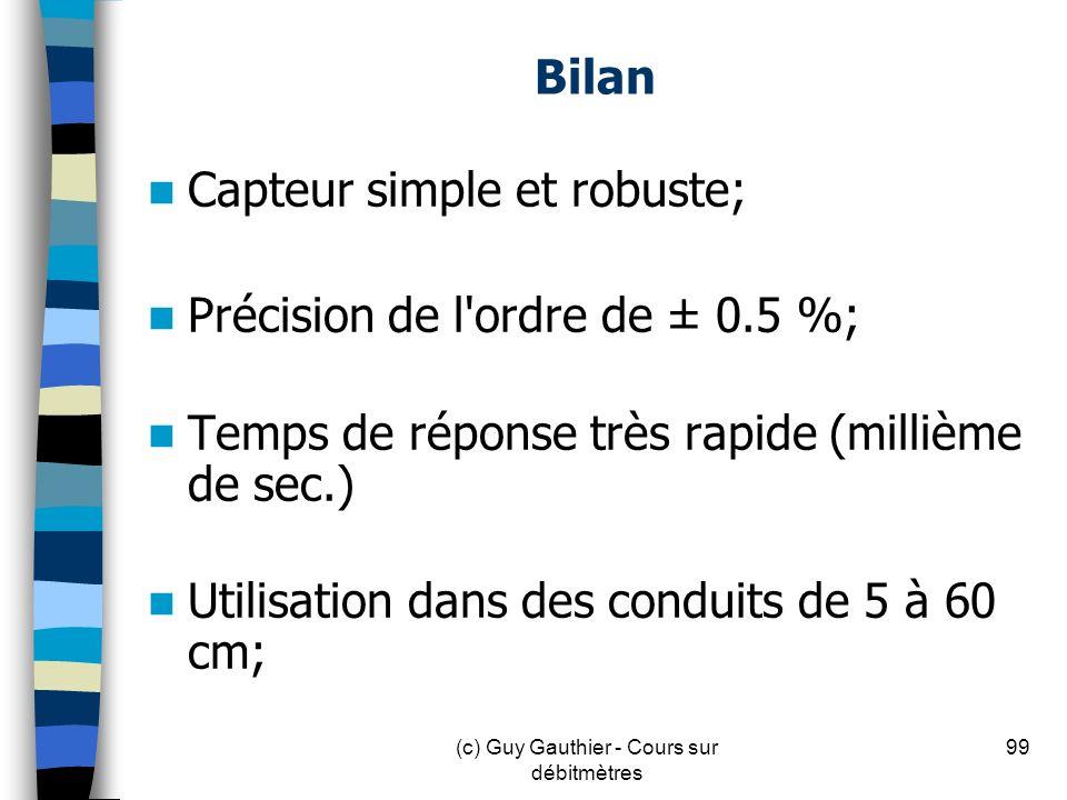 Bilan Capteur simple et robuste; Précision de l'ordre de ± 0.5 %; Temps de réponse très rapide (millième de sec.) Utilisation dans des conduits de 5 à