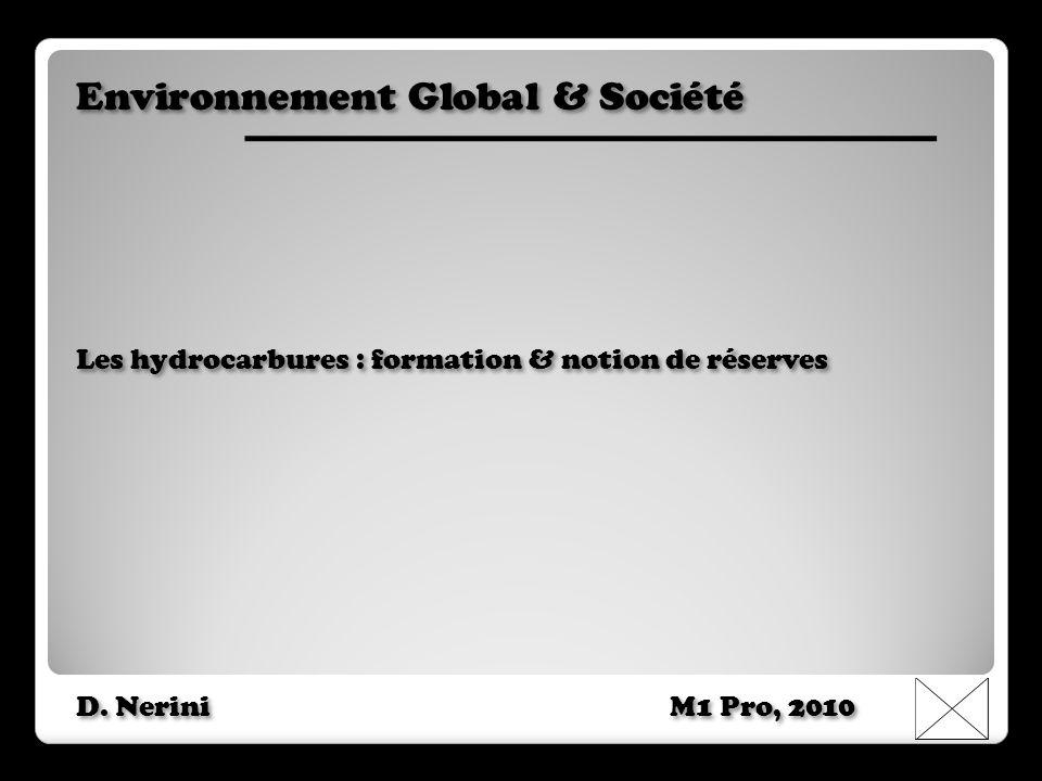 Environnement Global & Société Les hydrocarbures : formation & notion de réserves D. Nerini M1 Pro, 2010 Environnement Global & Société Les hydrocarbu