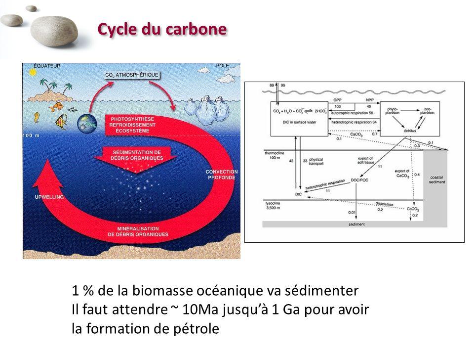 Cycle du carbone 1 % de la biomasse océanique va sédimenter Il faut attendre ~ 10Ma jusquà 1 Ga pour avoir la formation de pétrole