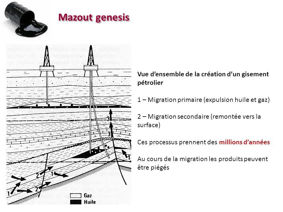 Mazout genesis Vue densemble de la création dun gisement pétrolier 1 – Migration primaire (expulsion huile et gaz) 2 – Migration secondaire (remontée