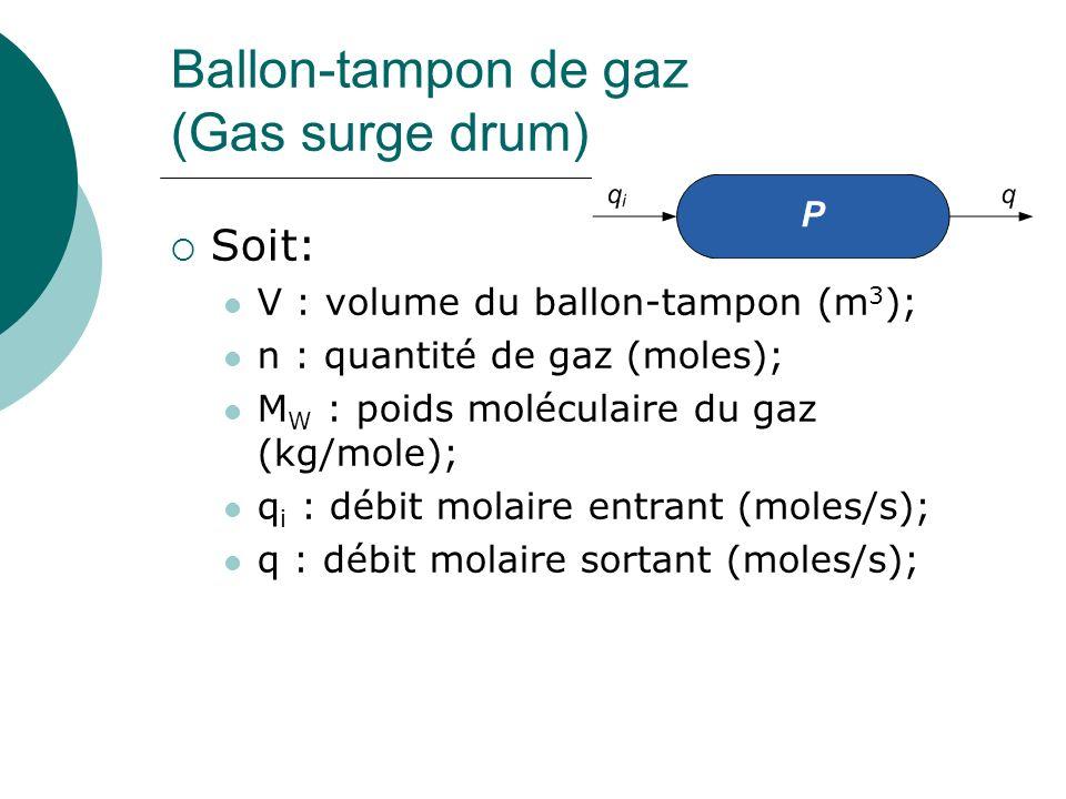 Ballon-tampon de gaz (Gas surge drum) Soit: V : volume du ballon-tampon (m 3 ); n : quantité de gaz (moles); M W : poids moléculaire du gaz (kg/mole); q i : débit molaire entrant (moles/s); q : débit molaire sortant (moles/s);