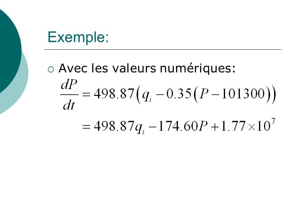 Exemple: Avec les valeurs numériques:
