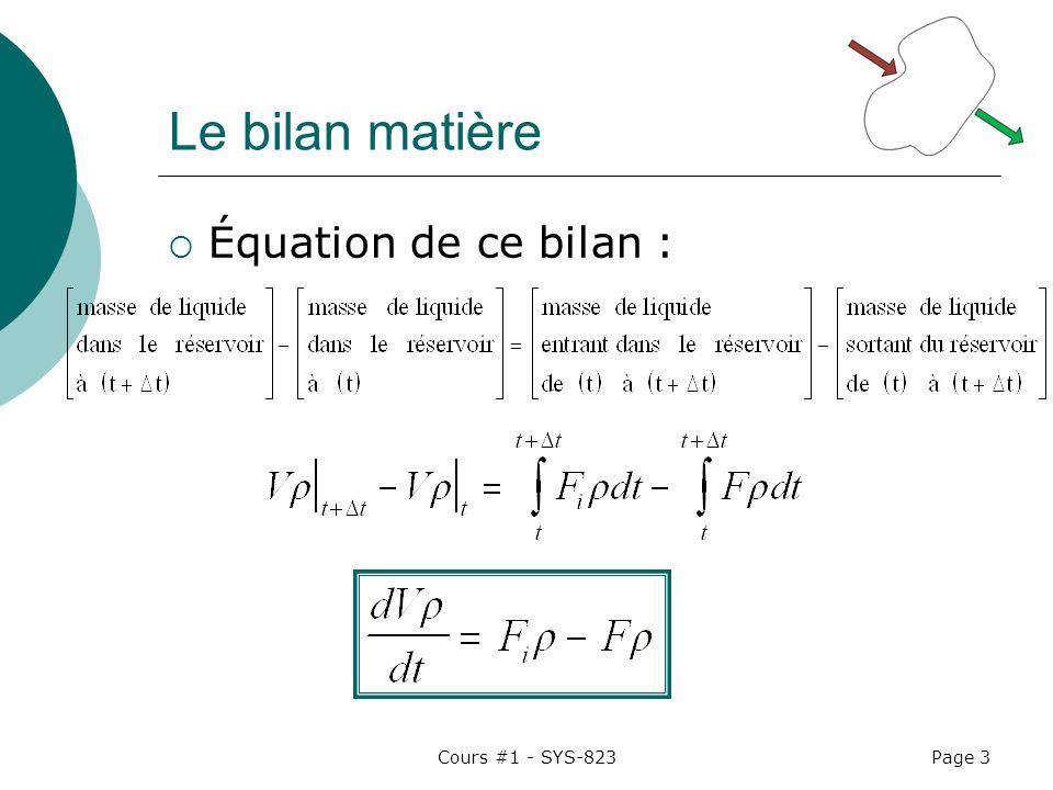 Cours #1 - SYS-823Page 3 Le bilan matière Équation de ce bilan :