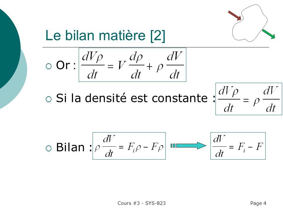 Cours #3 - SYS-823Page 4 Le bilan matière [2] Or : Si la densité est constante : Bilan :