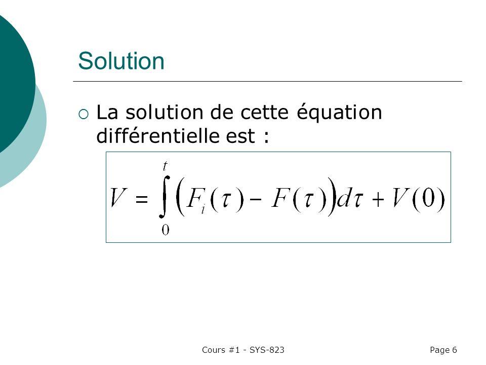 Cours #1 - SYS-823Page 6 Solution La solution de cette équation différentielle est :