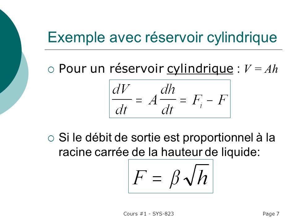 Cours #1 - SYS-823Page 7 Exemple avec réservoir cylindrique Pour un réservoir cylindrique : V = Ah Si le débit de sortie est proportionnel à la racine carrée de la hauteur de liquide: