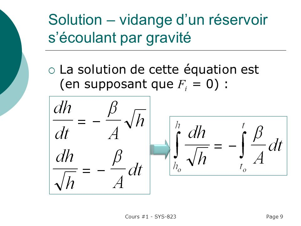Cours #1 - SYS-823Page 10 Solution (2) Donc : Si t o = 0 :