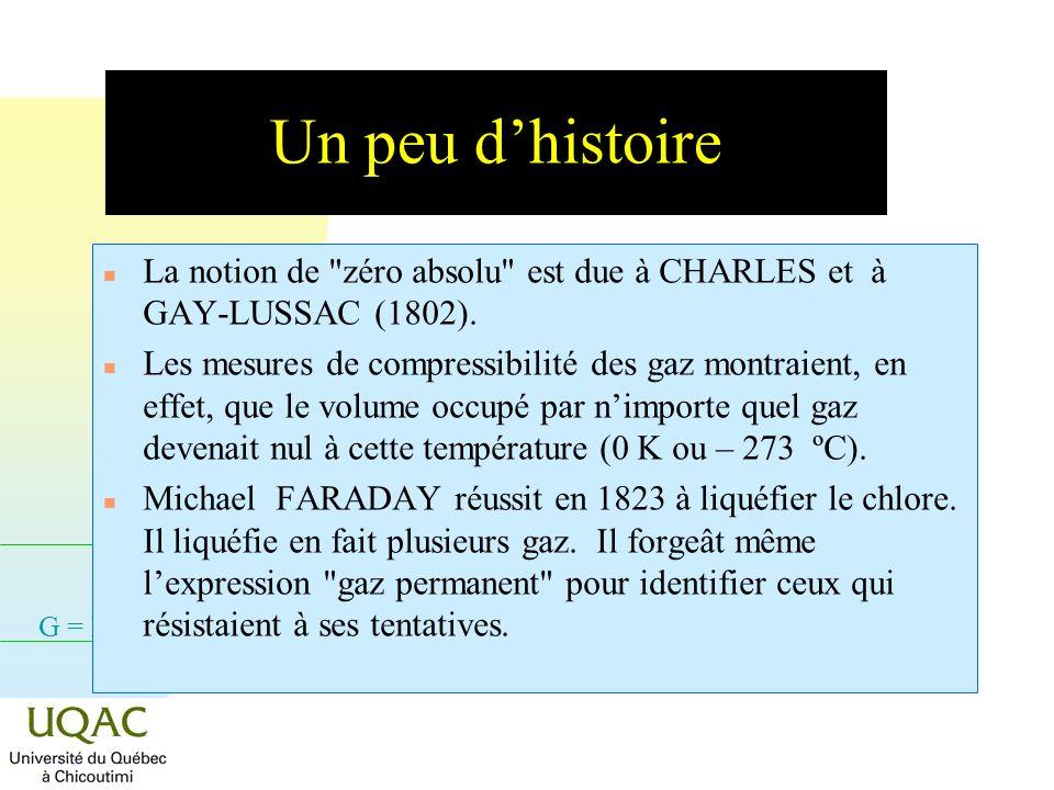 G = H - TS Un peu dhistoire n La notion de zéro absolu est due à CHARLES et à GAY-LUSSAC (1802).