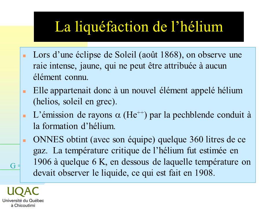 G = H - TS La liquéfaction de lhélium n Lors dune éclipse de Soleil (août 1868), on observe une raie intense, jaune, qui ne peut être attribuée à aucun élément connu.
