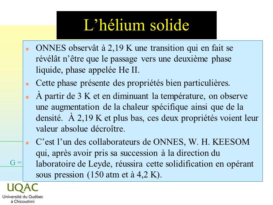 G = H - TS Le comportement inattendu de lhélium Densité Chaleur spécifique Température 123 Température K Variable Bref, la recherche en physique de la phase condensée prend un nouveau virage.
