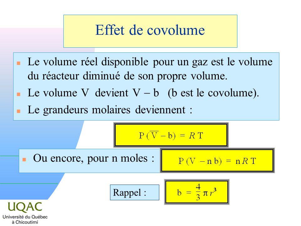 Effet de covolume n Le volume réel disponible pour un gaz est le volume du réacteur diminué de son propre volume.