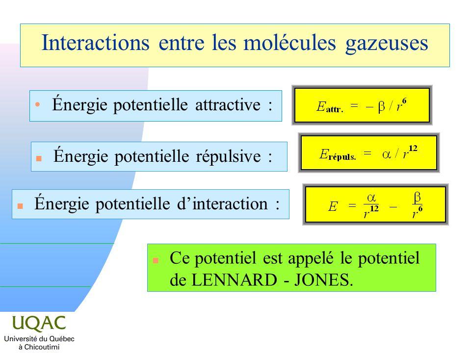 Énergie potentielle attractive : Interactions entre les molécules gazeuses n Énergie potentielle répulsive : n Énergie potentielle dinteraction : n Ce potentiel est appelé le potentiel de LENNARD - JONES.