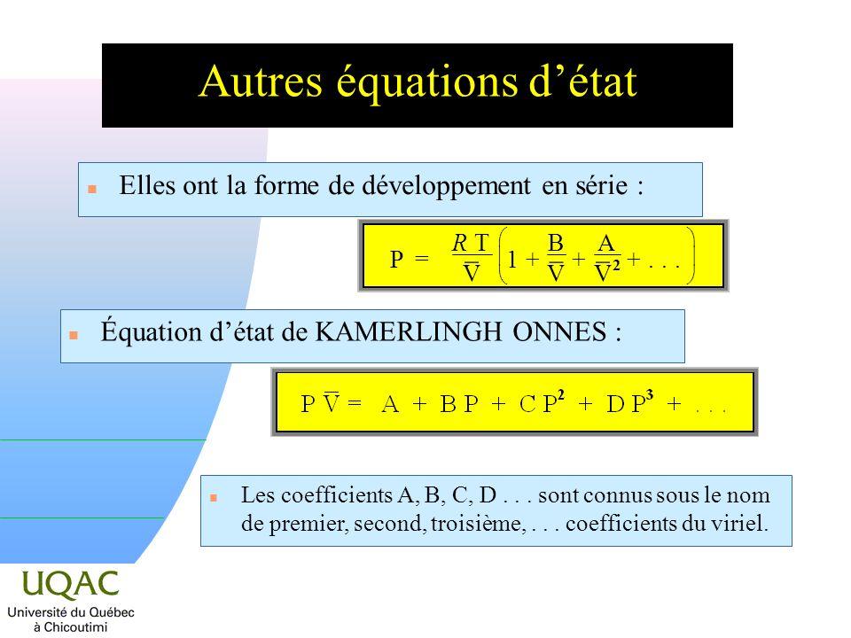 Autres équations détat n Elles ont la forme de développement en série : n Équation détat de KAMERLINGH ONNES : n Les coefficients A, B, C, D...