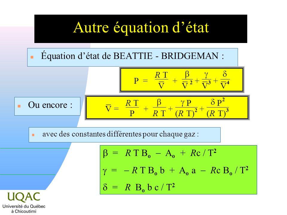 Autre équation détat n Équation détat de BEATTIE - BRIDGEMAN : n avec des constantes différentes pour chaque gaz : = R T B o A o + Rc / T 2 = R T B o b + A o a Rc B o / T 2 = R B o b c / T 2 P = R T ¯ V + ¯ V 2 + ¯ V 3 + ¯ V 4 n Ou encore : ¯ V = R T P + R T + P (R(R T) 2 + P 2 (R(R T) 3