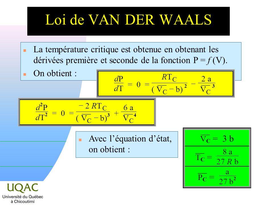 n La température critique est obtenue en obtenant les dérivées première et seconde de la fonction P = f (V).