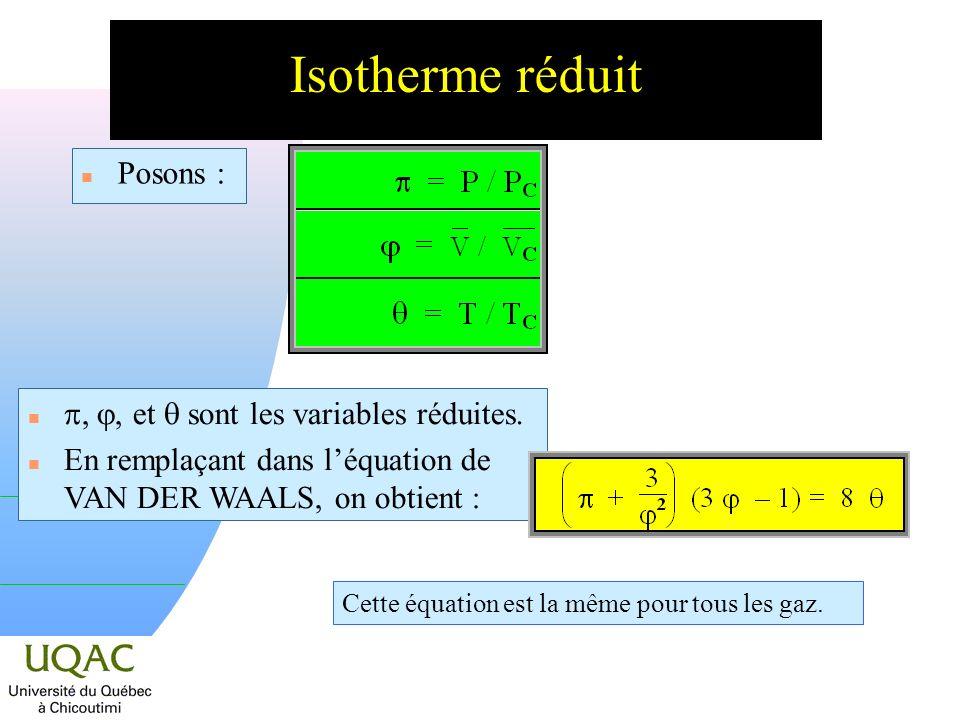 n Posons : Isotherme réduit,, et sont les variables réduites.