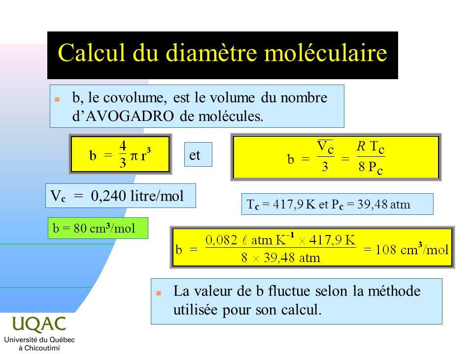 Calcul du diamètre moléculaire n b, le covolume, est le volume du nombre dAVOGADRO de molécules.