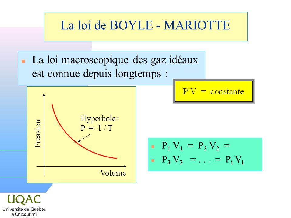 La loi de BOYLE - MARIOTTE n La loi macroscopique des gaz idéaux est connue depuis longtemps : n P 1 V 1 = P 2 V 2 = n P 3 V 3 =...