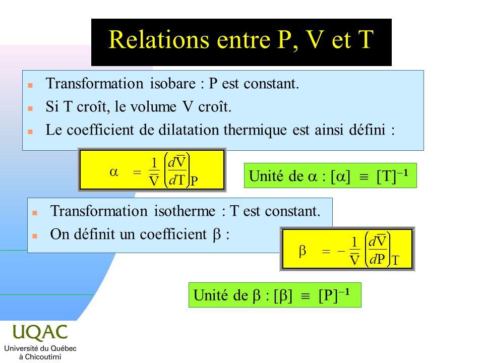 Relations entre P, V et T n Transformation isobare : P est constant.