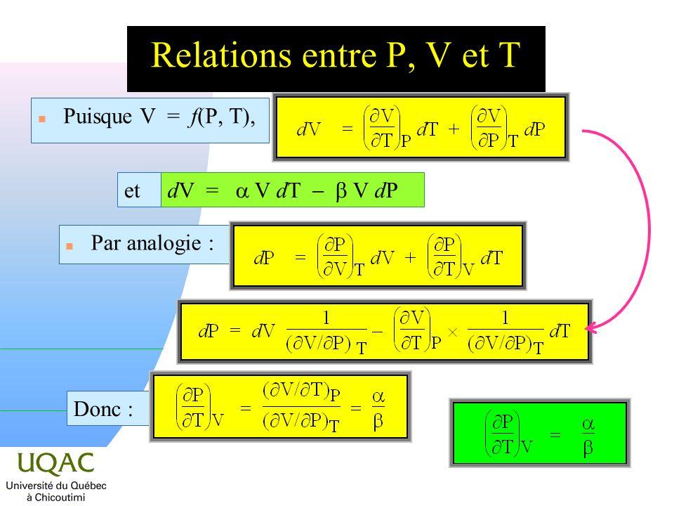 Relations entre P, V et T n Puisque V = f(P, T), dV = V dT V dP et n Par analogie : Donc :