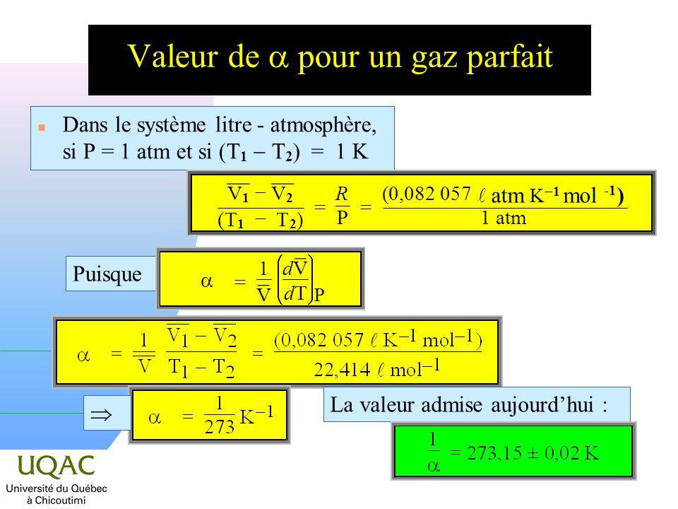 Valeur de pour un gaz parfait Dans le système litre - atmosphère, si P = 1 atm et si (T 1 T 2 ) = 1 K La valeur admise aujourdhui : ¯¯ V 1 ¯¯ V 2 (T 1 T 2 ) = R P = (0,082 057 atm K 1 mol -1 ) 1 atm Puisque = 1 ¯ V d ¯ V dTdT P