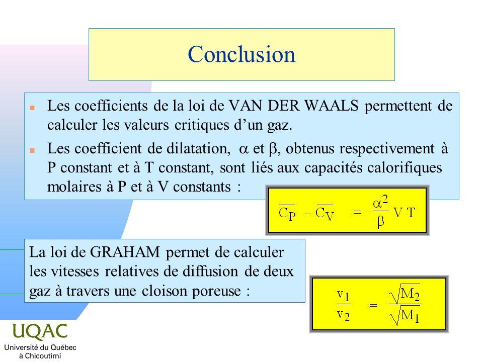 Conclusion n Les coefficients de la loi de VAN DER WAALS permettent de calculer les valeurs critiques dun gaz.