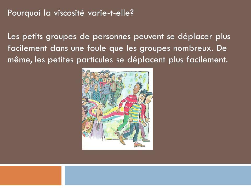 Pourquoi la viscosité varie-t-elle? Les petits groupes de personnes peuvent se déplacer plus facilement dans une foule que les groupes nombreux. De mê