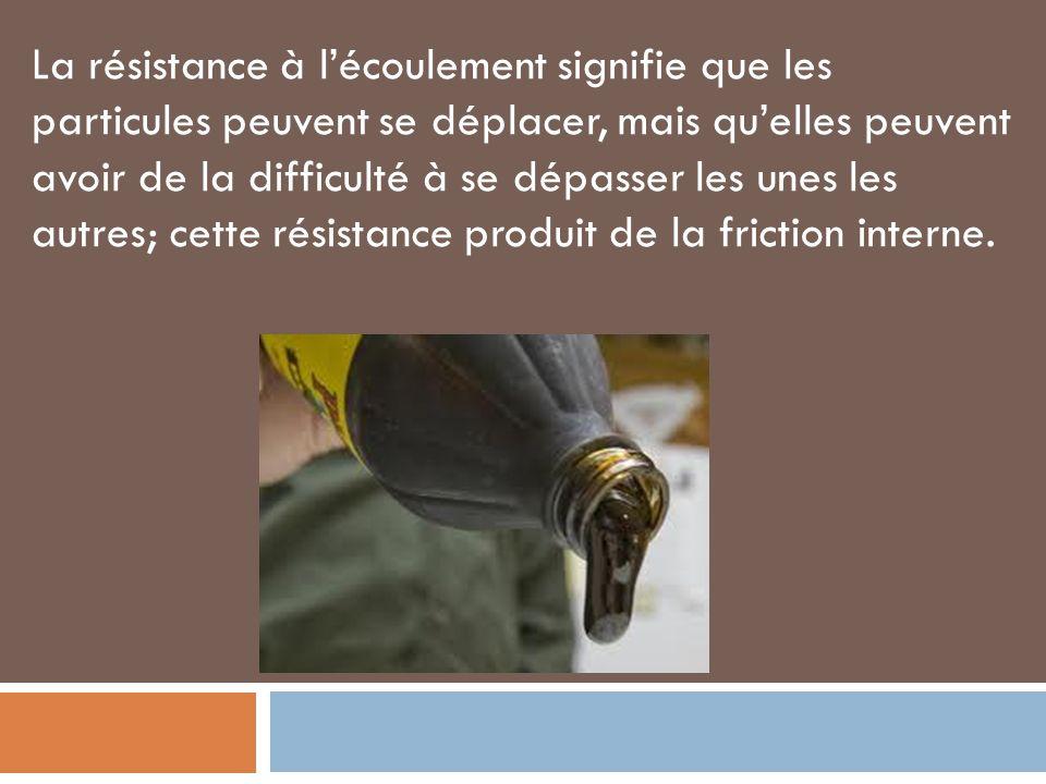 La résistance à lécoulement signifie que les particules peuvent se déplacer, mais quelles peuvent avoir de la difficulté à se dépasser les unes les autres; cette résistance produit de la friction interne.