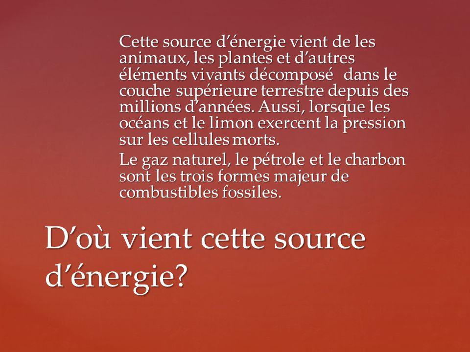 Cette source dénergie vient de les animaux, les plantes et dautres éléments vivants décomposé dans le couche supérieure terrestre depuis des millions