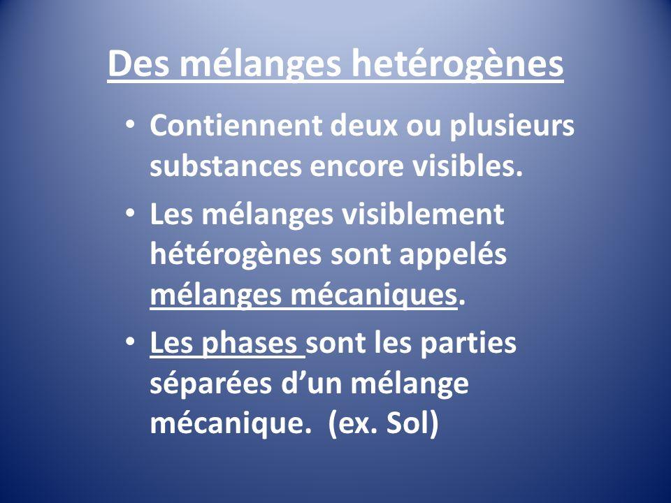 Des mélanges hetérogènes Contiennent deux ou plusieurs substances encore visibles.