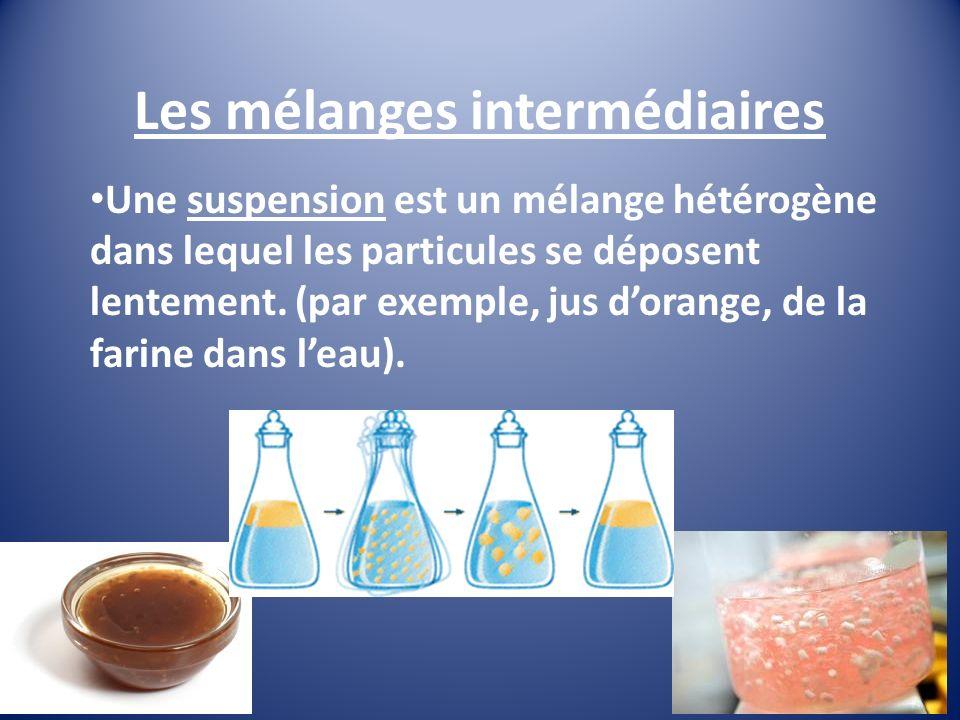 Les mélanges intermédiaires Une suspension est un mélange hétérogène dans lequel les particules se déposent lentement.