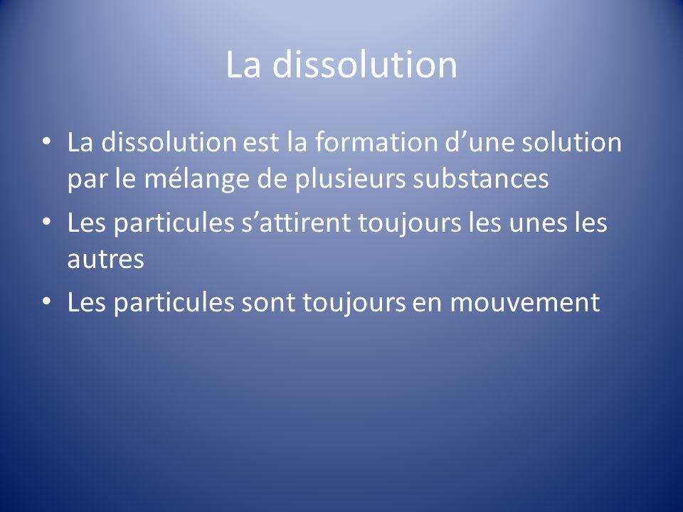 La dissolution La dissolution est la formation dune solution par le mélange de plusieurs substances Les particules sattirent toujours les unes les autres Les particules sont toujours en mouvement