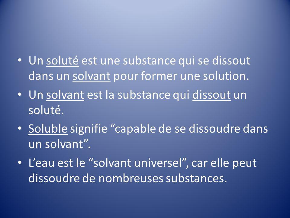 Un soluté est une substance qui se dissout dans un solvant pour former une solution.