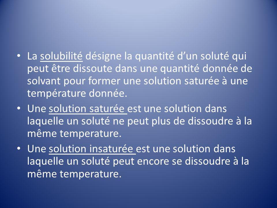 La solubilité désigne la quantité dun soluté qui peut être dissoute dans une quantité donnée de solvant pour former une solution saturée à une température donnée.
