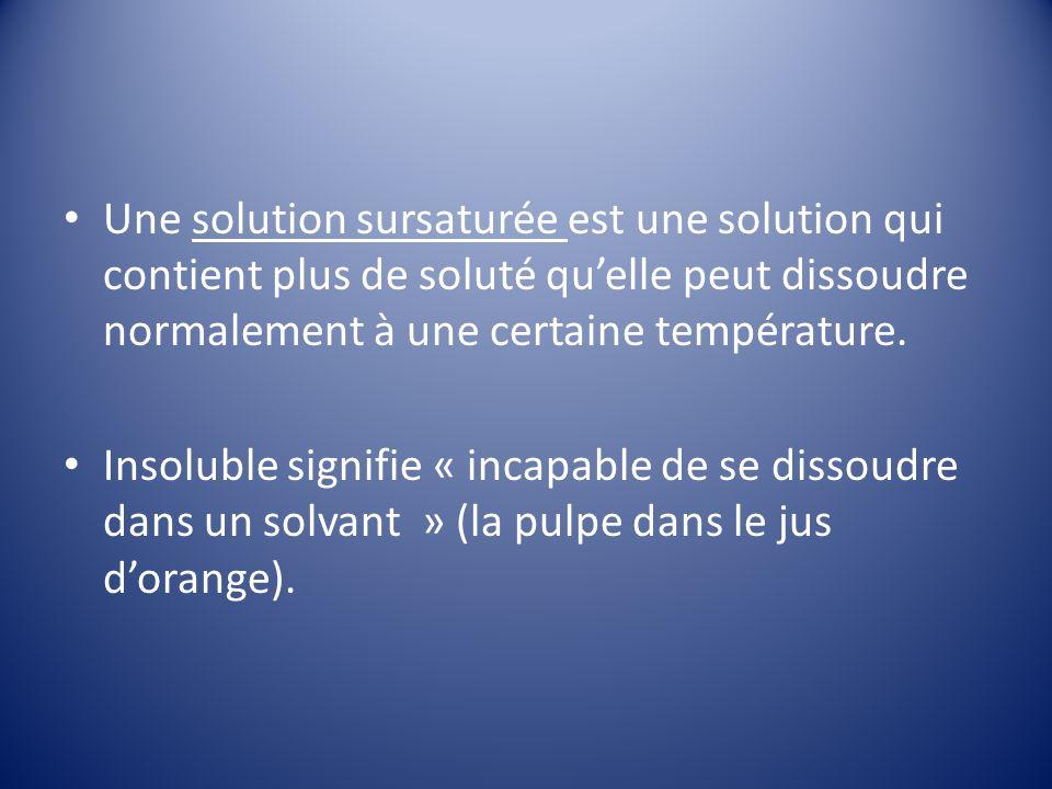 Une solution sursaturée est une solution qui contient plus de soluté quelle peut dissoudre normalement à une certaine température.