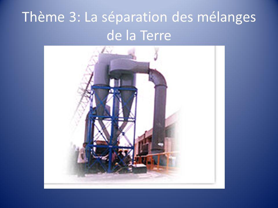 Thème 3: La séparation des mélanges de la Terre