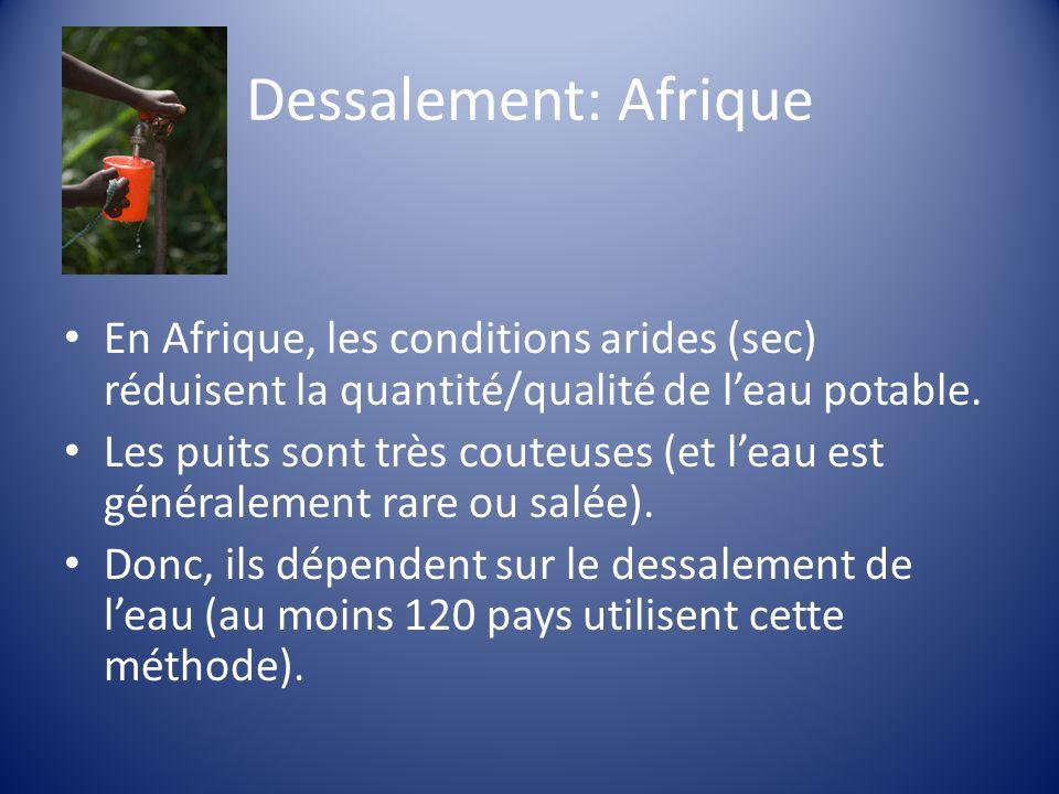 Dessalement: Afrique En Afrique, les conditions arides (sec) réduisent la quantité/qualité de leau potable.