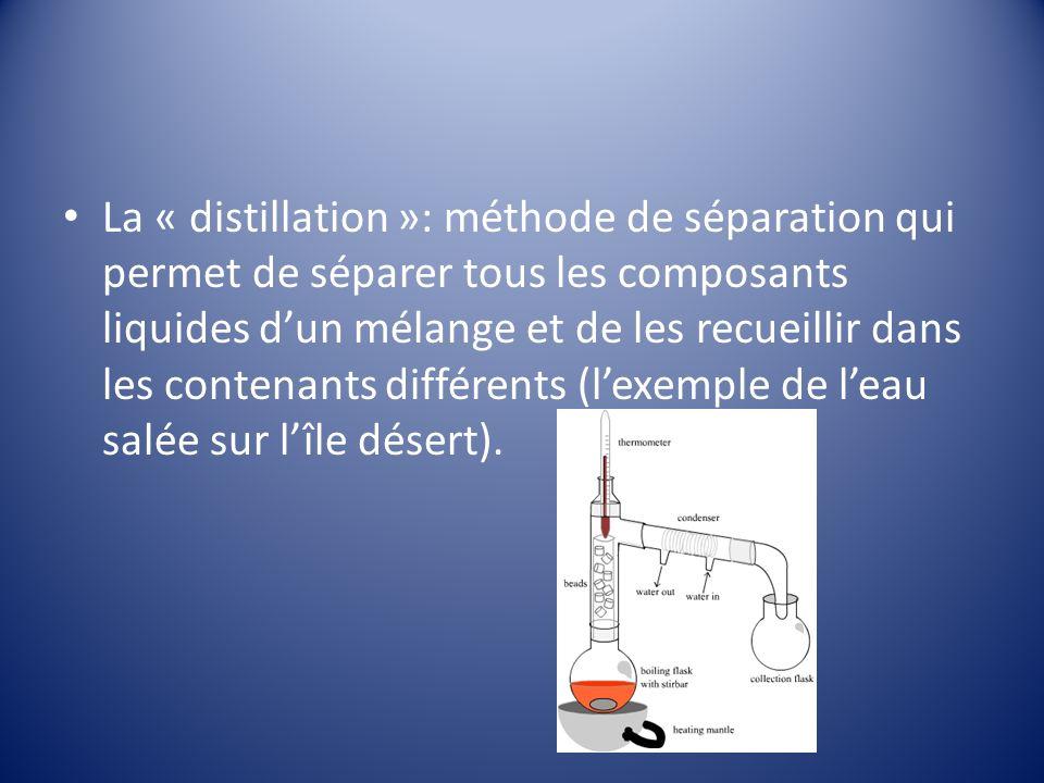 La « distillation »: méthode de séparation qui permet de séparer tous les composants liquides dun mélange et de les recueillir dans les contenants différents (lexemple de leau salée sur lîle désert).