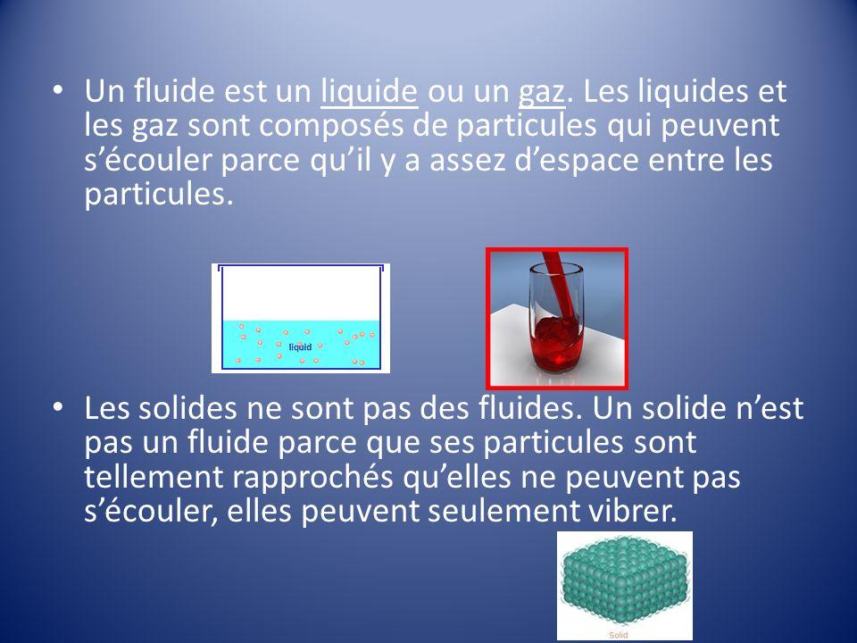 Un fluide est un liquide ou un gaz.