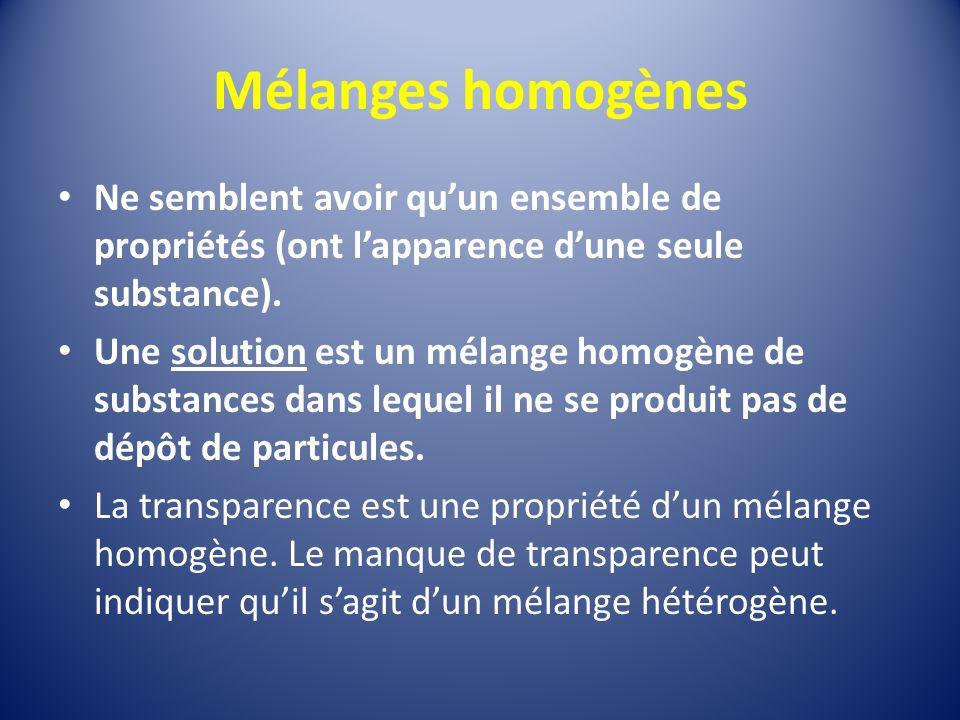 Mélanges homogènes Ne semblent avoir quun ensemble de propriétés (ont lapparence dune seule substance).