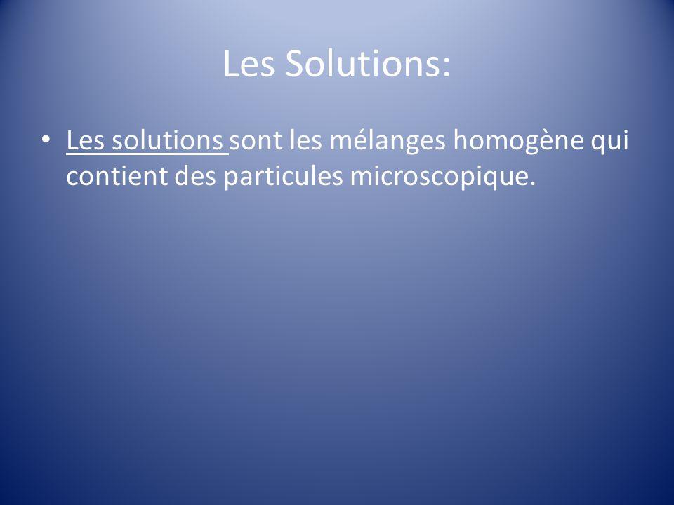 Les Solutions: Les solutions sont les mélanges homogène qui contient des particules microscopique.