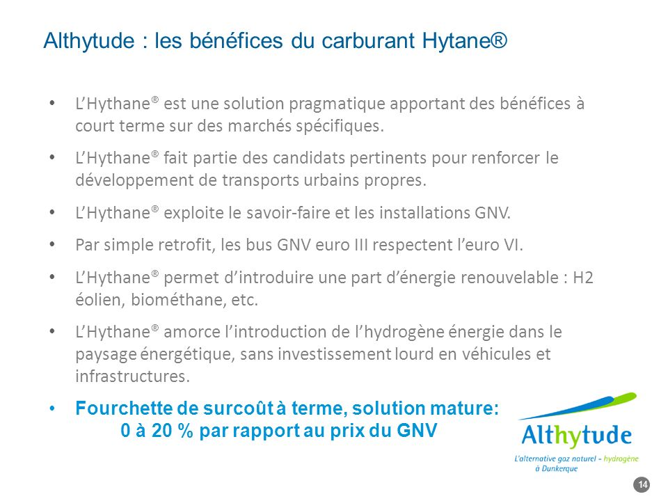 Althytude : les bénéfices du carburant Hytane® LHythane® est une solution pragmatique apportant des bénéfices à court terme sur des marchés spécifiques.