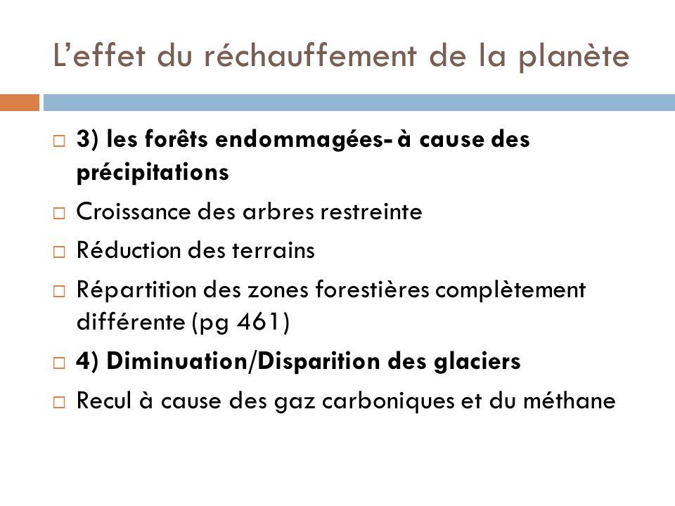 Leffet du réchauffement de la planète 3) les forêts endommagées- à cause des précipitations Croissance des arbres restreinte Réduction des terrains Répartition des zones forestières complètement différente (pg 461) 4) Diminuation/Disparition des glaciers Recul à cause des gaz carboniques et du méthane